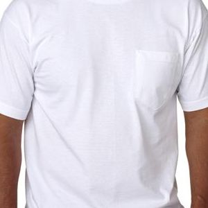 5070 Bayside Adult Short-Sleeve Cotton Tee with Pocket  - 5070-White