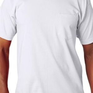 7100 Bayside Adult Short-Sleeve Cotton Tee with Pocket  - 7100-White