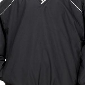 7601 Badger Adult Piped Microfiber Windshirt  - 7601-Black/ White