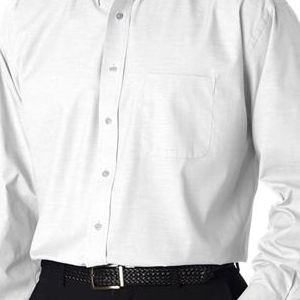 8360 UltraClub® Men's Long-Sleeve Blend Performance Pinpoint Woven Shirt  - 8360-White