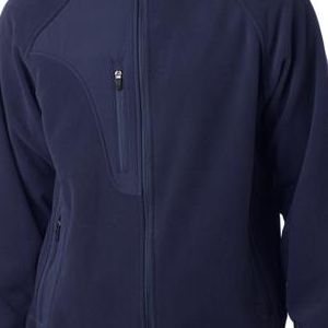 8495 UltraClub® Adult Full-Zip Polyester Micro-Fleece Jacket With Pocket  - 8495-Black/ Black