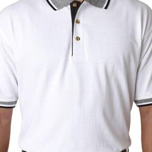 8536 UltraClub® Adult White-Body Classic Pique Cotton Polo with Contrasting Multi-Stripe Trim  - 8536-White/ Black