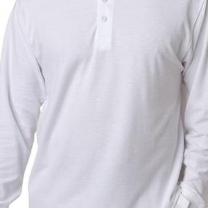 8542 UltraClub® Adult Long-Sleeve Whisper Pique Blend Polo  - 8542-White