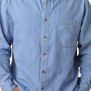 8960T UltraClub® Men's Tall Long-Sleeve Cotton Cypress Denim Woven Shirt with Pocket  - 8960T-Light Blue