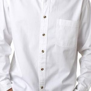 8960 UltraClub® Men's Long-Sleeve Cotton Cypress Denim Woven Shirt with Pocket  - 8960-White