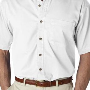 8965 UltraClub® Adult Short-Sleeve Cotton Cypress Denim Woven Shirt with Pocket  - 8965-White