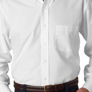8970T UltraClub® Men's Tall Classic Blend Wrinkle-Free Long-Sleeve Oxford Woven Shirt  - 8970T-White