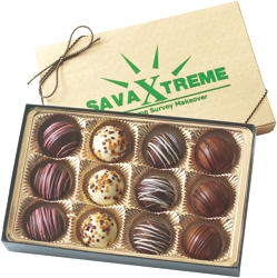 BT12 Filled Truffle Gift Box - Select from 6 different box configurations and price points designed to fit every budget. Choose 2 truffle flavors (5 to choose from) and imprint the box with your foil stamped logo.