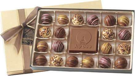 BT20 Filled Truffle Gift Box - Select from 6 different box configurations and price points designed to fit every budget. Choose 2 truffle flavors (5 to choose from) and imprint the box with your foil stamped logo.