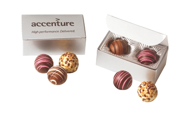 BT2 Filled Truffles Gift Box - Select from 6 different box configurations and price points designed to fit every budget. Choose 2 truffle flavors (5 to choose from) and imprint the box with your foil stamped logo.