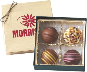 BT4 Filed Truffle Gift Box - Select from 6 different box configurations and price points designed to fit every budget. Choose 2 truffle flavors (5 to choose from) and imprint the box with your foil stamped logo.