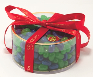 Jelly Belly Clearview Gift Box - This clear round gift box lets the colorful Jelly Belly® gourmet jelly beans show through.