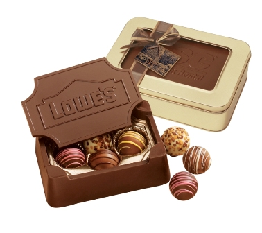 Chocolate Box w/ Truffles - These gift boxes are molded entirely of creamy milk or dark chocolate and filled with your choice of truffles or chocolate shapes.