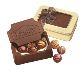 Chocolate Box w/ Chocolate Shapes - These gift boxes are molded entirely of creamy milk or dark chocolate and filled with your choice of truffles or chocolate shapes.