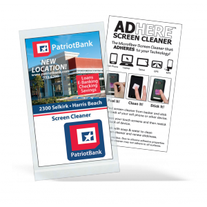 "2"" x 3 1/2"" Full Color White Microfiber Cloth with 10 pt. White Card - Ad-Here? Screen Cleaners"
