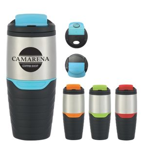 16 Oz. Stainless Steel Tumbler With Flip Lock Lid -