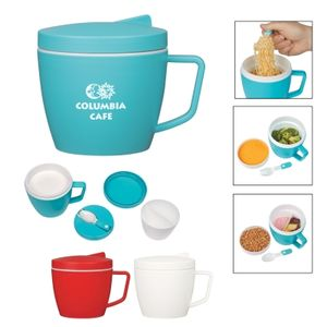 14 Oz. Thermal Mug With Spoon And Fork Set -