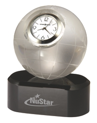 Axis - Crystal award tabletop clock in globe