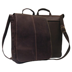 "Distressed Leather 17"" Laptop Messenger Briefcase -"