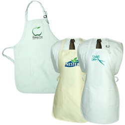 Gourmet Apron With Pockets  Natural And White