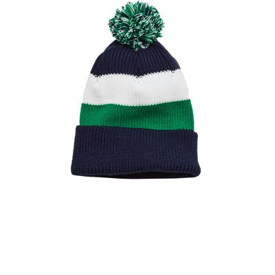 District 174  - Vintage Striped Beanie with Removable Pom. DT627