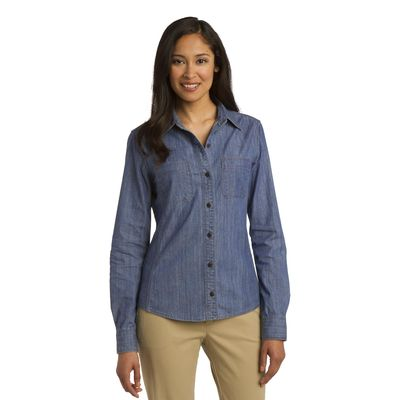 Port Authority 174  Ladies Patch Pockets Denim Shirt. L652 -