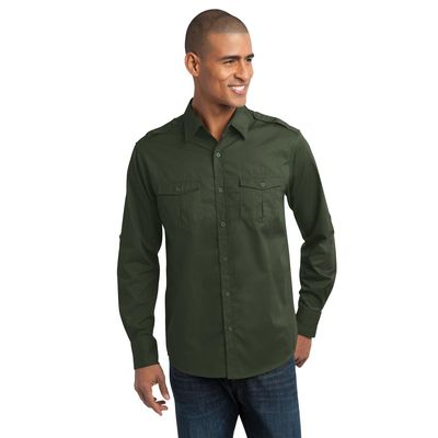 Port Authority 174  Stain-Resistant Roll Sleeve Twill Shirt. S649 -