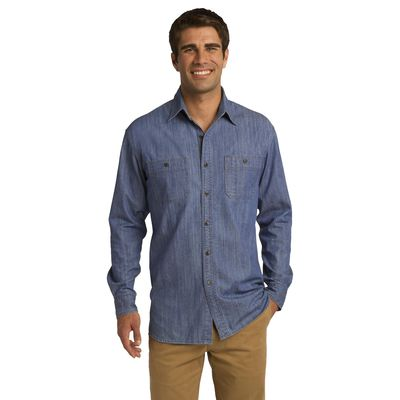 Port Authority 174  Patch Pockets Denim Shirt. S652 -