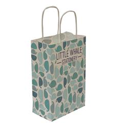 "Kraft Shopper Full-Bleed 5.5""w x 8.25""h x 3.25""d - Natural upscale look at a giveaway priceMade of recyclable kraft material sealed together with chlorine free water-based adhesiveHigh quality twisted handle bagsMade in the USANo over/under runsPlate Charge $150.00(g) per color/Maximum 3 ColorsWe cannot guarantee Graphic alignment across any seam. Copy within 1/4"" of bag edges may bleed over edge Seam Locations: One Vertical Side SeamQuantity 5,000 bags ship in 20 boxes 250 bags per box Each box dimension: 14 x 13 x 21 Each box Shipping Weight: 12.5 lbs (we"