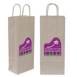 "Kraft Shopper Full-Color Transfer 5.5""w x 13""h x 3.25""d (2-Sided) - Natural upscale look at a giveaway priceMade of recyclable kraft material sealed together with chlorine free water-based adhesiveHigh quality twisted handle bagsMade in the USA"