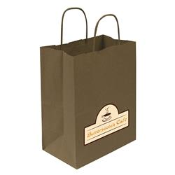"Kraft Shopper Full-Color Transfer 8""w x 10.25""h x 4.75""d (1-Sided) - Natural upscale look at a giveaway priceMade of recyclable kraft material sealed together with chlorine free water-based adhesiveHigh quality twisted handle bagsMade in the USA"