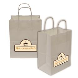 "Kraft Shopper Full-Color Transfer 8""w x 10.25""h x 4.75""d (2-Sided) - Natural upscale look at a giveaway priceMade of recyclable kraft material sealed together with chlorine free water-based adhesiveHigh quality twisted handle bagsMade in the USA"