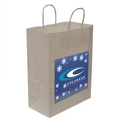 "Kraft Shopper Full-Color Transfer 10""w x 13""h x 5""d (1-Sided) - Natural upscale look at a giveaway priceMade of recyclable kraft material sealed together with chlorine free water-based adhesiveHigh quality twisted handle bagsMade in the USA"