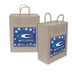 "Kraft Shopper Full-Color Transfer 10""w x 13""h x 5""d (2-Sided) - Natural upscale look at a giveaway priceMade of recyclable kraft material sealed together with chlorine free water-based adhesiveHigh quality twisted handle bagsMade in the USA"