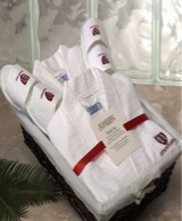 His and Hers Robe and Slippers Set - His & hers robe & slippers set in a basket.