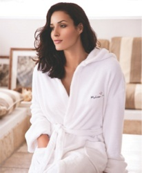 Hooded Coral Fleece Robe - Robe featuring double pockets and self belt for added benefit.