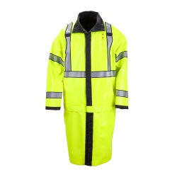 Reversible High-Visibility Rain Coat - The New Long Reversible High Vis Rain Coat is a fully waterproof  seam sealed long coat that is reversible to an ANSI Class III. Featuring a full snap front and pass through pockets for quick access to a duty belt  mic loops  and easy bottom coat removable to parka length.
