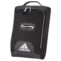 "adidas UNIVERSITY Shoe Bag - 16"" x 10 1/2"" x 4"", 600 dobby hex weave nylon shoe bag with side ventilation. Imprinted on side or top of bags. Available in black only. 1 Color Imprint only."