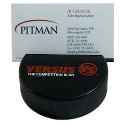 Hockey Puck Business Card Holder - Hockey puck with slit to hold business cards.