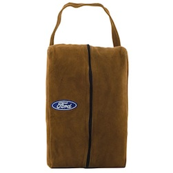 "Suede Shoe Bag - 15"" x 3"" x 8"" synthetic suede shoe bag, fleece lined with inside pocket. Embroidered up to 8000 stitches. (S)0.69 per 1000 additional stitches."