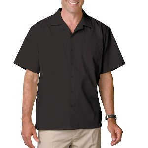 Men'S Poplin Camp Shirt - Men's short sleeve camp shirt, 65% polyester, 35% cotton poplin blend.