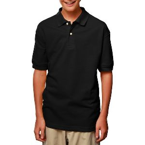 Youth Short Sleeve Pique Polo - Youth short sleeve cotton / polyester pique polo shirt with no-curl collar.