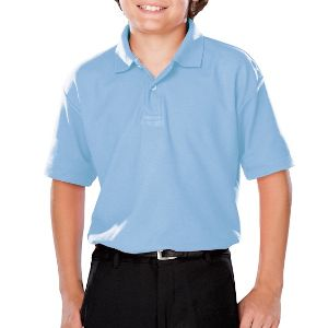 YOUTH VALUE MOISTURE WICKING S/S POLO - LIGHT BLUE SOLID LARGE -
