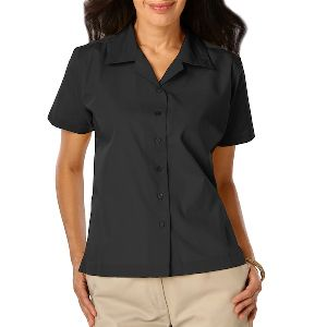 Ladies Poplin Camp Shirt - Ladies short sleeve camp shirt, 65% polyester, 35% cotton poplin blend.