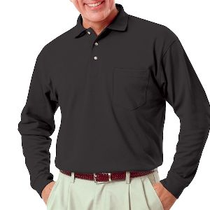 Adult Long Sleeve With Pocket - Men's long sleeve pique polo shirt with patch pocket.