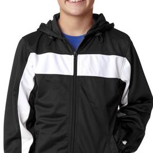 2705 Badger Youth Brushed Tricot Hooded Jacket  - 2705-Black/ White