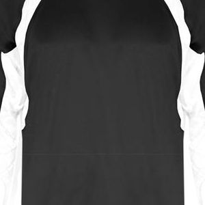 4154 Badger Adult Long-Sleeve Hook Performance Tee with Contrast Side Panel Insert  - 4154-Black/ White