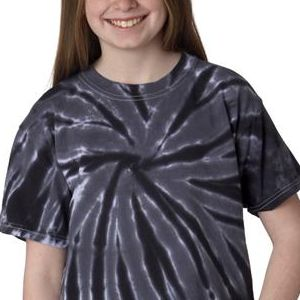 77B Gildan Tie-Dye Youth Cotton One-Color Pinwheel Tee  - 77B-Black