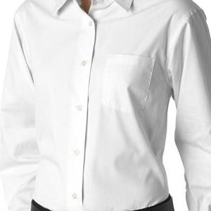 8361 UltraClub® Ladies' Long-Sleeve Blend Performance Pinpoint Woven Shirt  - 8361-White