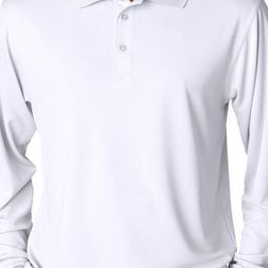 8405LS UltraClub® Adult Cool & Dry Sport Long-Sleeve Mesh Performance Polo  - 8405LS-White
